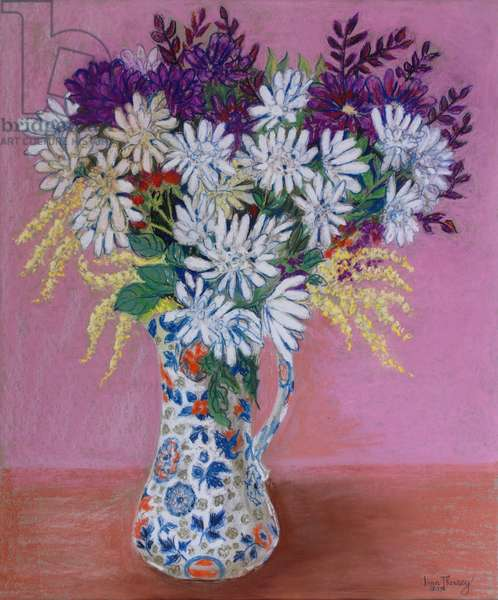 Chrysanthemums in a Japanese Jug, 2005 ,Pastel