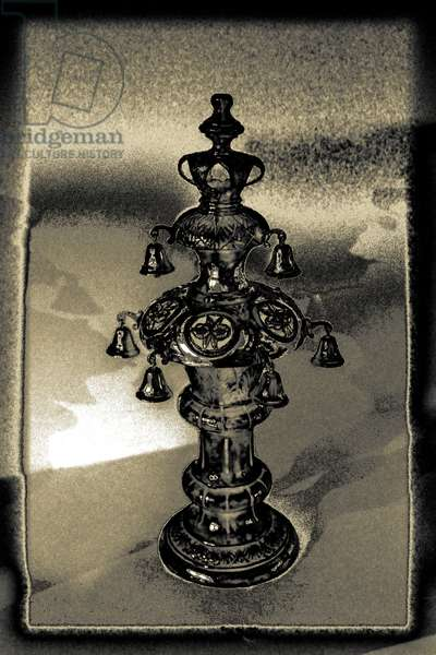 Silver Torah Handle, 2015, (repainted photograph)