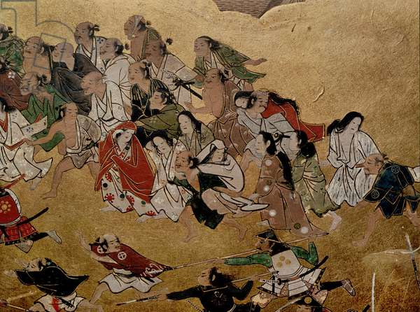 Detail of a folding screen which depicts the siege of Osaka Castle (1615)