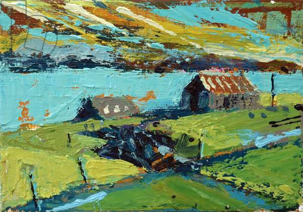 Farm by the sea (acrylic on canvas)