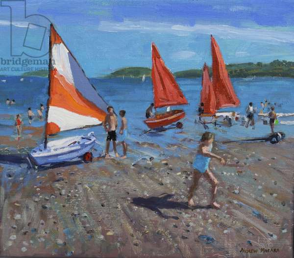 Red and White Sails, Abersoch (oil on canvas)