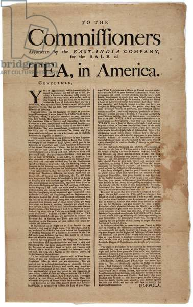 To the Commissioners Appointed by the East-India Company, for the Sale of Tea, in America, signed Scaevola, 1773 (litho)