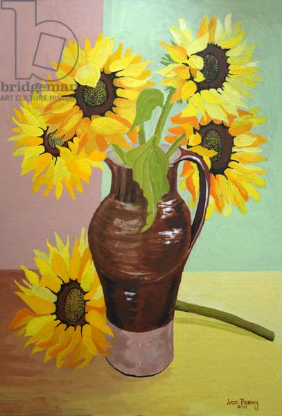 Five Sunflowers in a Tall Brown Jug,2007 (gouache)