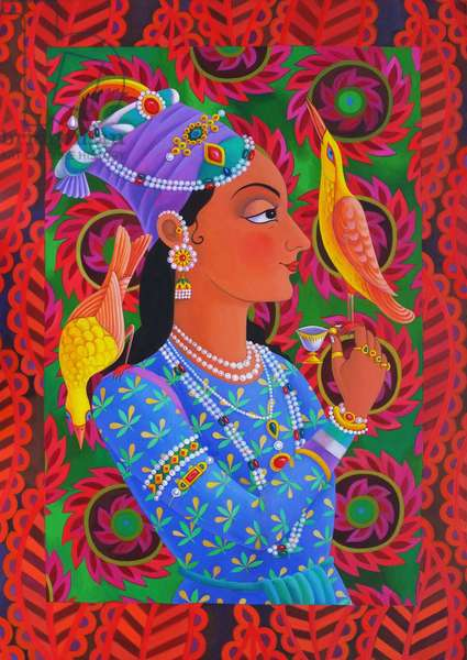 Maharani with two birds, 2012, (oil on canvas)