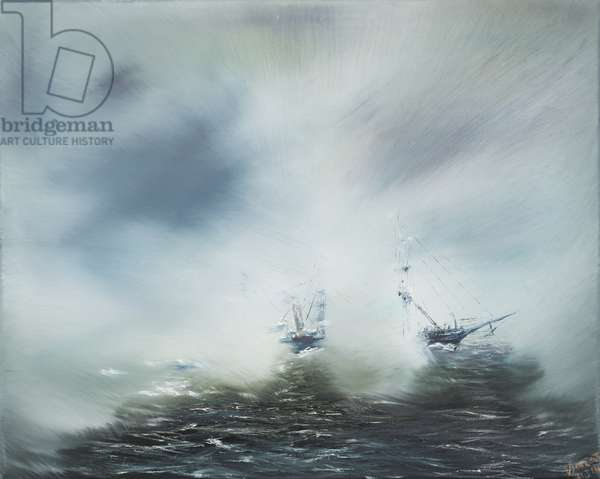 Discovery Clearing in sea mist Scott en route to Antarctica January 1902.  2014, (oil on canvas)