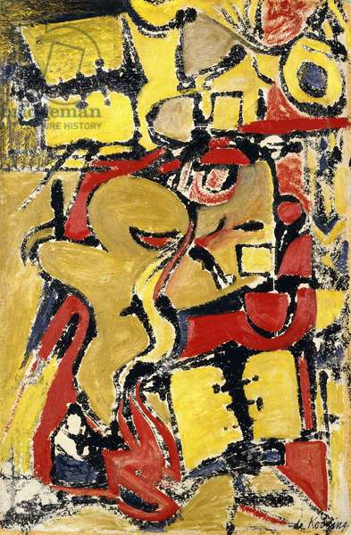 The Stenographer, 1948 (oil, gouache and transfer on paper)
