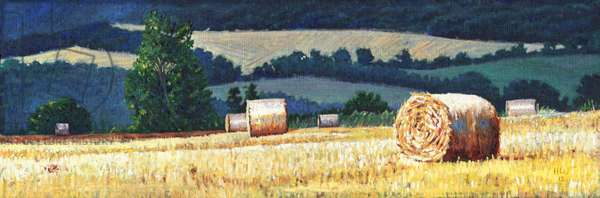 Haybales on hillside, 2012, (oil on canvas)