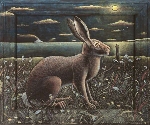 Hare of Tiree, 2012,(tinted gesso on canvas)