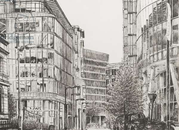 Manchester, Deansgate, view from cafe,2010,  (ink on Paper)