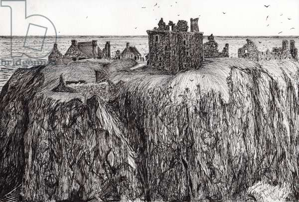 Dunottar Castle, 2007, (ink on paper)