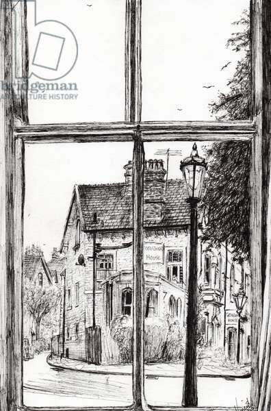 View from Old Hall Hotel Buxton, 2009, (ink on paper)