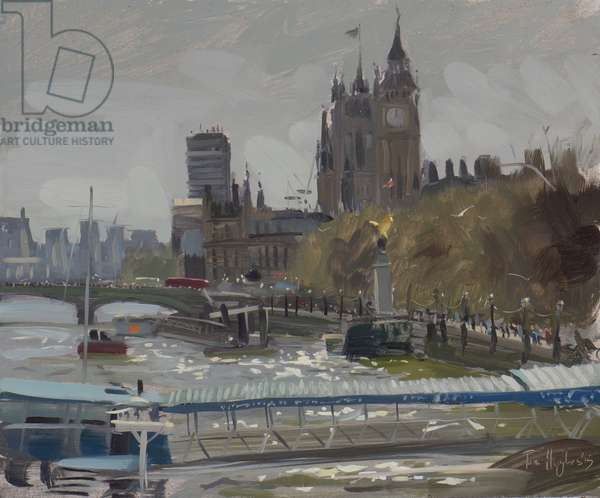 Towards Westminster from Embankment, April