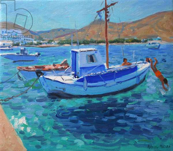 The harbour, Tinos, (oil on canvas) 2012
