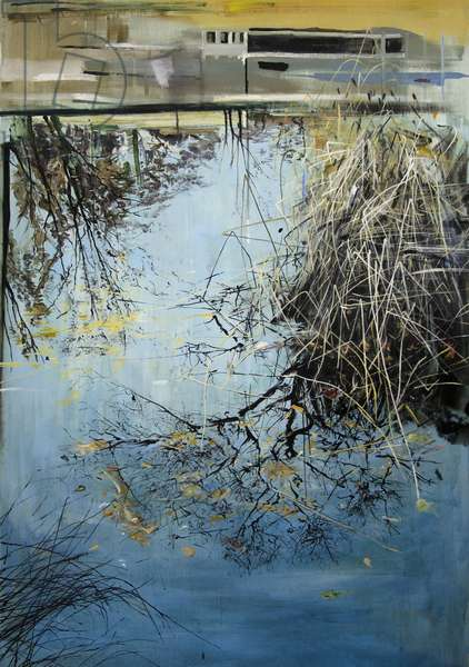 Winter Reeds on Reflection, 2013, (oil on board)