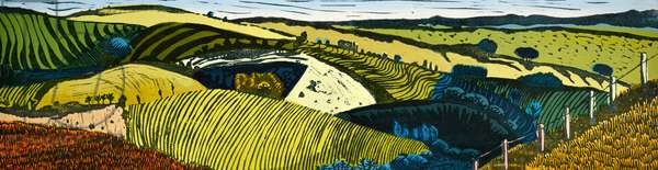 Middle Fifth on Cranborne Chase, 2017 (oil/linocut)
