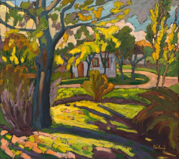 4222 Autumn in our Street, 2010 (oil on board)