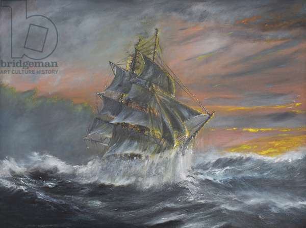 Terra Nova in fierce Gale at dawn Dec 2nd 1910, 2007, (oil on canvas)