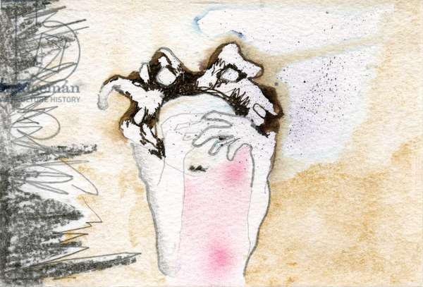 Peek-a-boo, 2000, (pencil and watercolor on paper)
