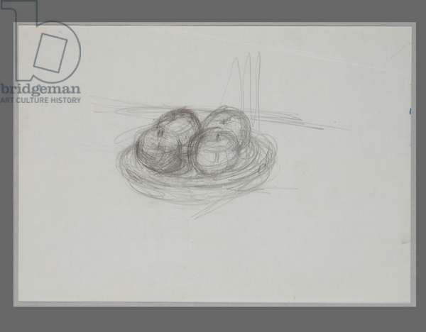 Apples in a Fruit-Dish, 1947 (pencil on paper)