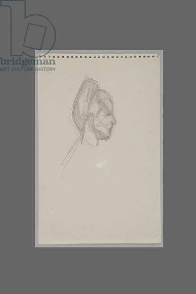 Head of Simone de Beauvoir in Profile, c.1946 (pencil on paper)