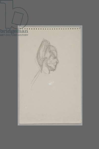 Head of Simone de Beauvoir in Profile, c.1946 (pencil on paper)