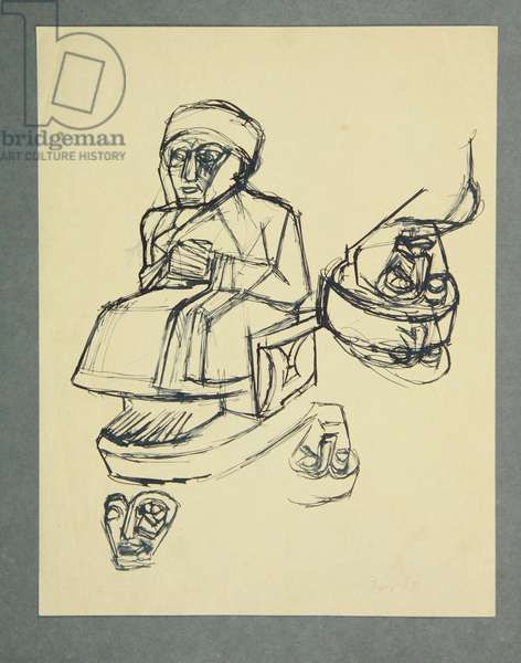 Study after a Sumerian sculpture: Gudea (ink on paper)