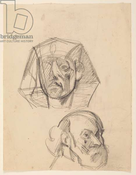 Sesostris III, after an Egyptian sculpture, and Self Portrait, after Cezanne (pencil on paper)