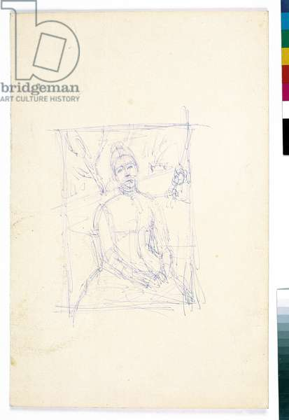 After Cezanne: Mrs Cezanne in the Greenhouse, c.1965 (ballpoint pen on paper)
