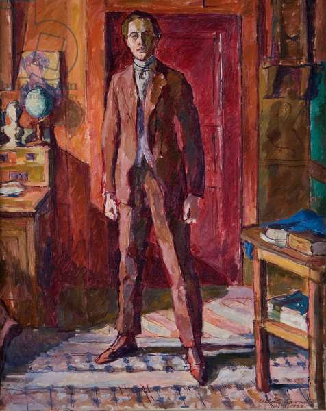 Diego standing in the living room, Stampa, Switzerland, November 1922 (oil on canvas)