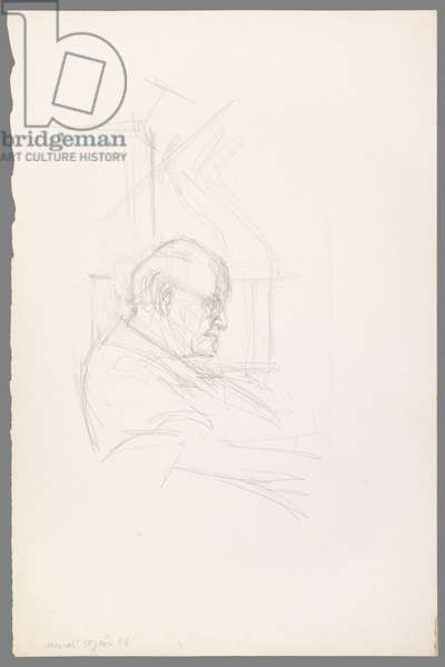 Bust of Henri Matisse in Profile, 30 June 1954 (pencil on paper)