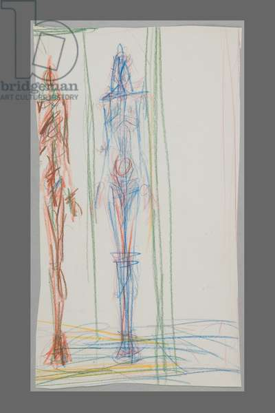 A Woman in a Cage and Standing Man (verso) (coloured pencil on paper)