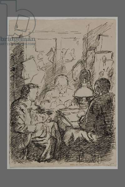 Professor and Two Students in Schiers, 1917 (pen & ink on paper)