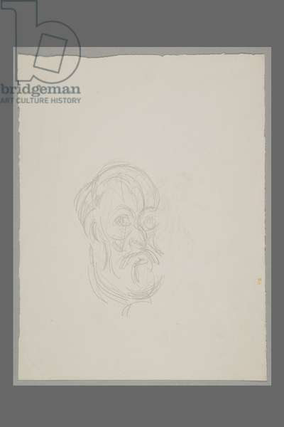After Cézanne: Self-portrait (pencil on paper)
