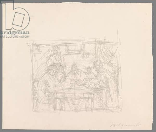After Cézanne: 'The Card Players' (pencil on paper)