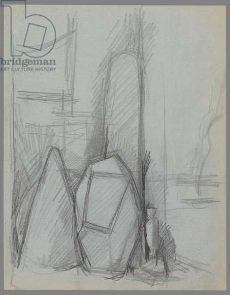 The Cube, two elements of Project for a City Square and sculpture in the studio (pencil on letter paper)