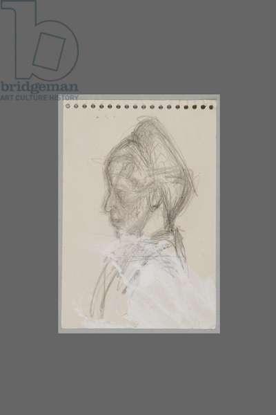 Bust of Simone de Beauvoir in profile, c.1946 (pencil on paper)