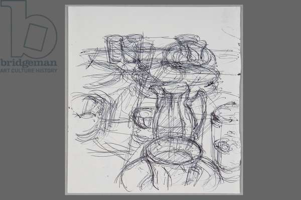 Pitcher, Cups and Glasses, c.1965 (ballpoint pen on paper)