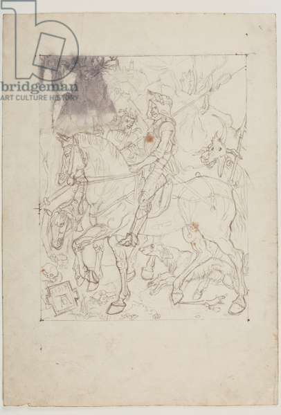 Knight, Death and Devil, after Durer, 1915 (pencil on paper)