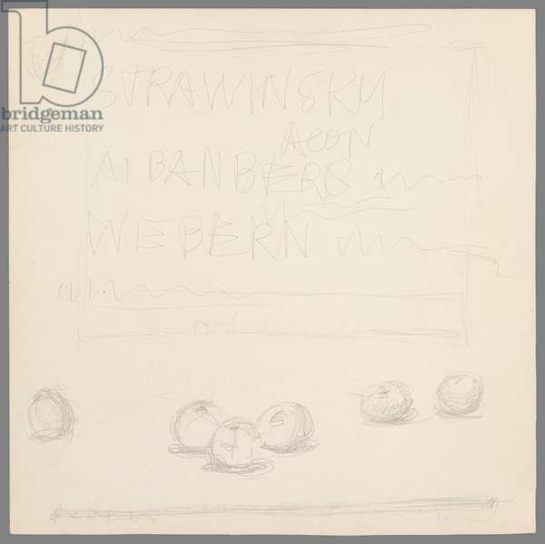 Six Apples, project for the sleeve of the record 'Agon' by Stravinsky, 1957 (pencil on paper)