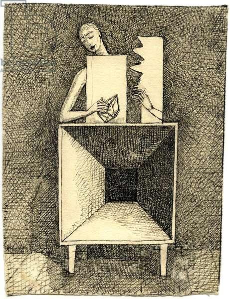Surrealist Composition, c.1933 (pen & ink on paper)