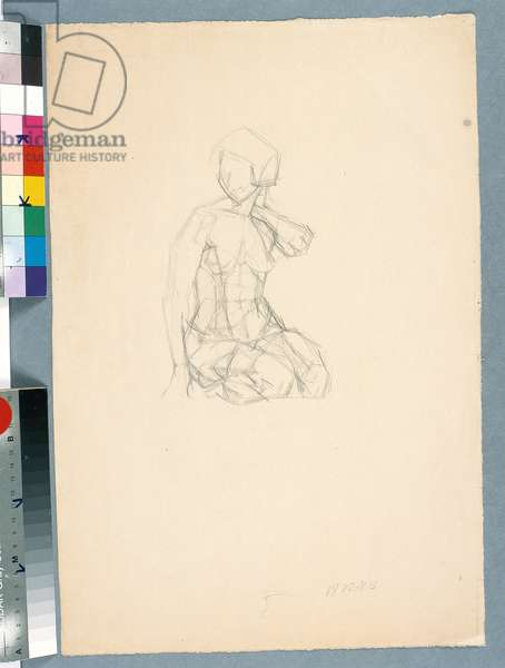 Kneeling Nude (recto), c.1922-25 (pencil on paper)