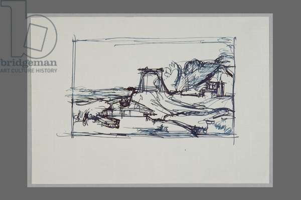 After Rembrandt's drawing: 'Landscape with a Canal and a Bridge' (pen & ink on paper)