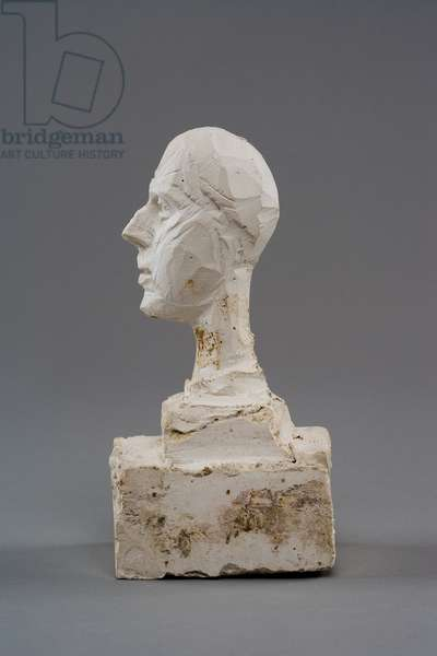 [Head of a Man on a Double Base (study for the head of Colonel  Rol-Tanguy)], 1946 (plaster reworked with pocket knife)