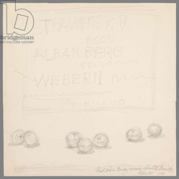 Seven Apples, project for the sleeve of the record 'Agon' by Stravinsky, 1957 (pencil on paper)