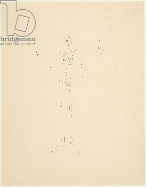 Figure with Arms Raised, c.1951 (pen & ink on letter paper)