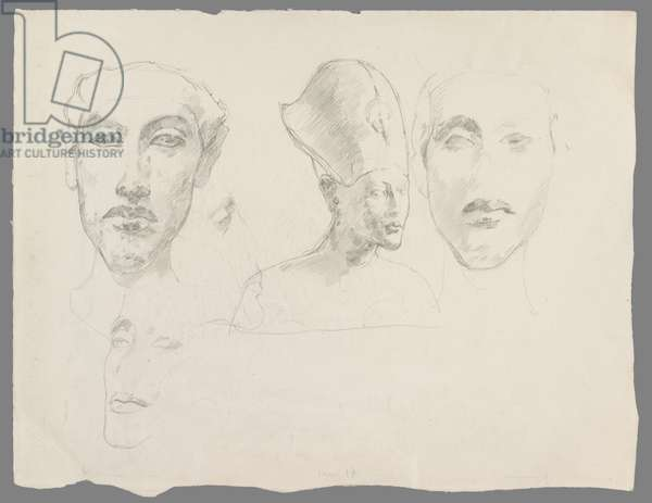 Drawings after Egyptian Sculptures, Heads of Amenhotep IV, c.1920 (pencil on paper)