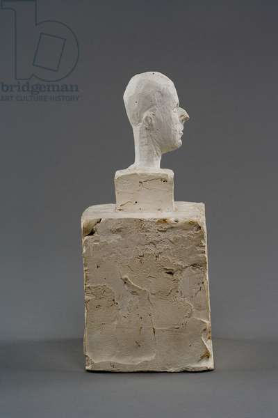 Head of a Man on a Double Base (study for the head of Colonel  Rol-Tanguy), 1946 (plaster reworked with pocket knife)