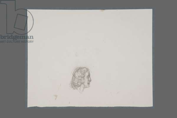 Head of Marie-Laure de Noailles in Profile, c.1946 (pencil & eraser on paper)