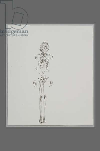 Standing Nude, c.1961-62 (litho pencil on transfer paper)