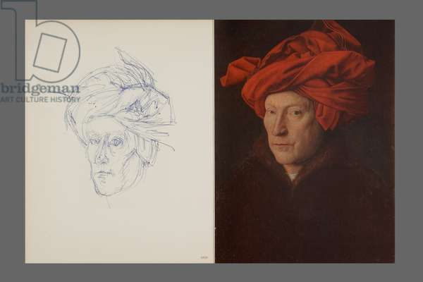 After Van Eyck: Portrait of a Man in a Red Turban, 1955 (ballpoint pen & colour litho) (see also 860877)